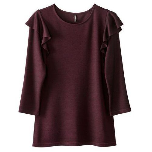 Gładki T-shirt z okrągłym dekoltem i rękawami o długości 3/4, kolor szary