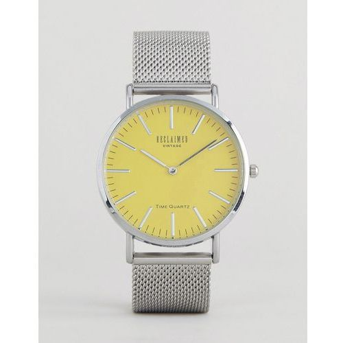 Reclaimed Vintage Inspired Silver Mesh Watch With Yellow Dial - Silver