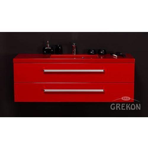 Czerwona szafka wisząca z umywalką 120/39/S2 seria Fokus CZ