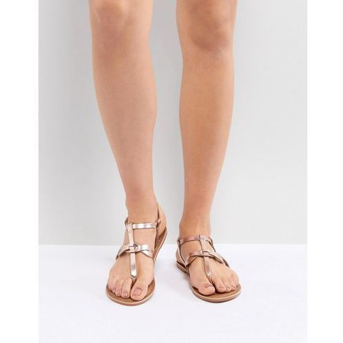 leather metallic twist toe post flat sandal - gold, New look