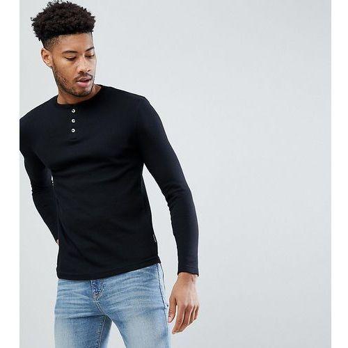 D-Struct TALL Grandad Neck Long Sleeve Top - Black, kolor czarny