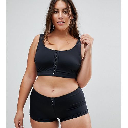 ASOS DESIGN Curve recycled Mix and Match Crop Bikini Top with Hook and Eye - Black, kolor czarny