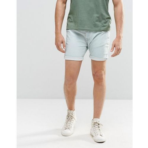 Brave Soul Light Blue Wash Denim Shorts in Stretch Skinny Fit - Blue