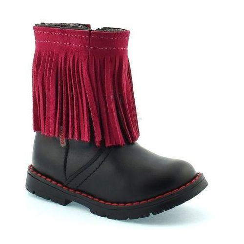Skórzane buty zimowe dla dzieci 86/09 - różowy ||czarny marki Zarro