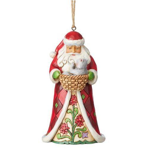 Mikołaj z kotkiem w koszyczku zawieszka santa with kitten (hanging ornament) 6003357 figurka ozdoba świąteczna gwiazdor marki Jim shore