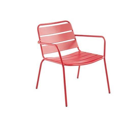 Vente-unique Sztaplowany niski fotel ogrodowy mirmande z metalu – kolor czerwony