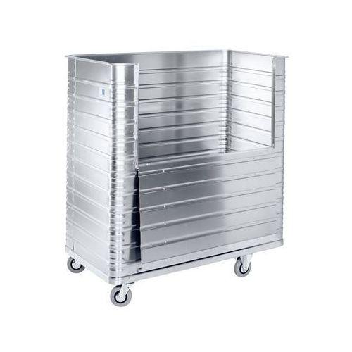 Aluminiowy wózek skrzyniowy, poj. 350 l, ścianka boczna, składana do połowy. Odp