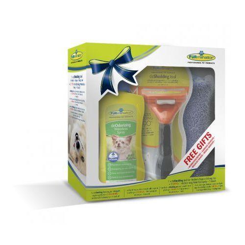 FURminator grzebień dla dorosłych kotów o krótkiej sierści + ręcznik oraz płyn do sierści 250 ml (4048422137597)