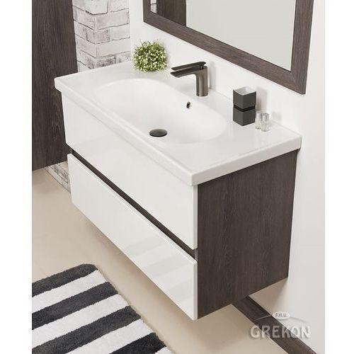 Szaro-biała szafka łazienkowa led z umywalką 100/46 grace marki Gante