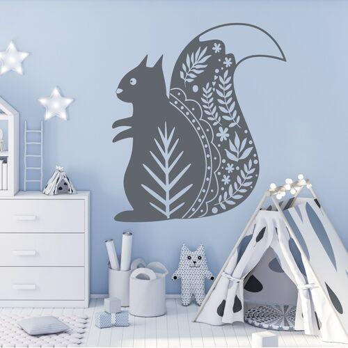 Wally - piękno dekoracji Szablon na ścianę dla dzieci wiewiórka 2493