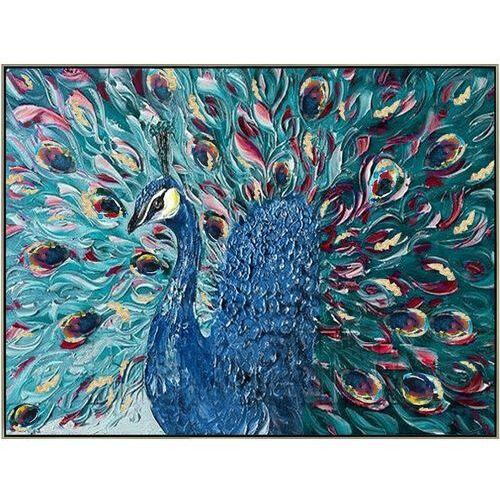 Obraz olejny parade ręcznie malowany, motyw pawia – 80 × 100 cm – kolor niebieski marki Vente-unique