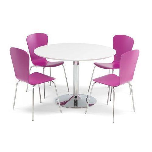 Zestaw mebli do stołówki, stół Ø1100 mm, biały, chrom + 4 fioletowe krzesła marki Aj produkty