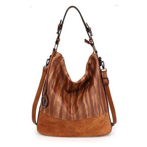 Brązowa torebka damska shopperka - jasnobrązowy, kolor brązowy