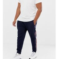 Burton menswear big & tall joggers with side stripe in navy - navy