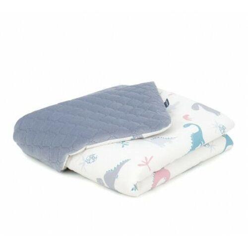 Kocyk dla niemowląt i dzieci velvet pikowany dwustronny 75x100 - dinusie/ szary marki Mamo-tato