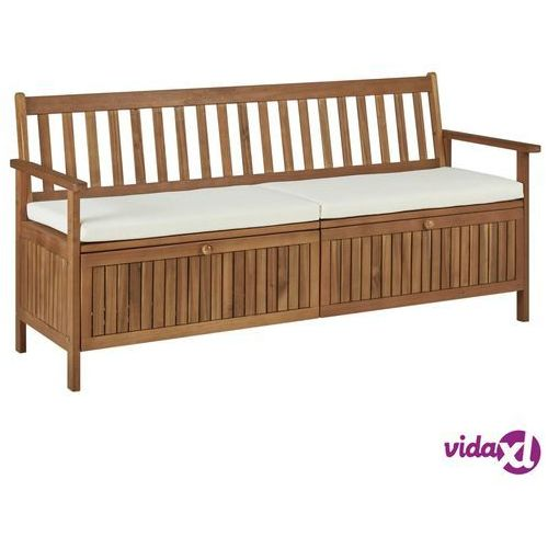 Vidaxl ławka ze schowkiem i poduszką, 170 cm, lite drewno akacjowe (8719883718910)