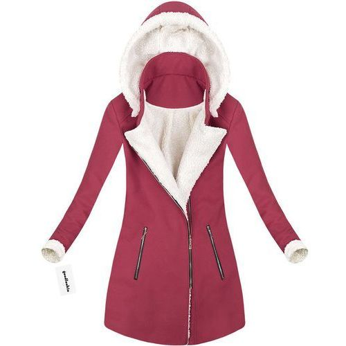 Płaszcz zimowy z kapturem bordowy (65art) - czerwony, Made in italy, 36-42