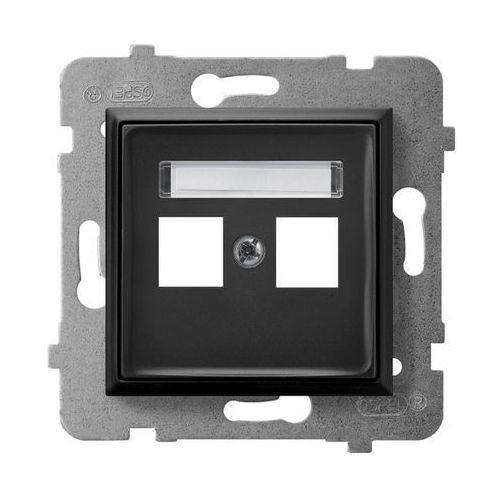Ospel Obudowa gniazda podwójnego typu keystone prosta gpk-2u/p/33 czarny metalik aria (5907577484484)