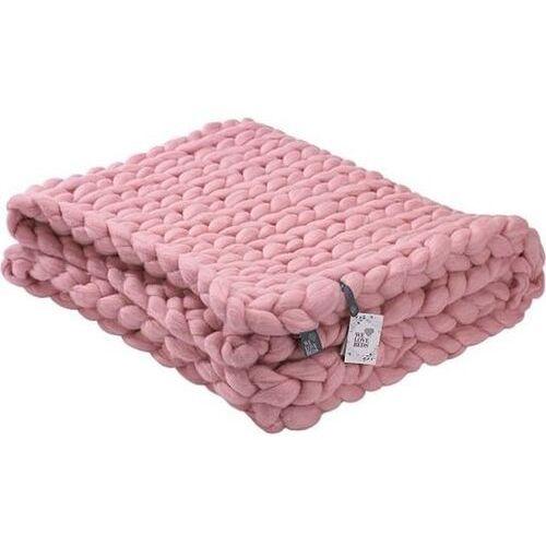 Dziergany skandynawski pled wełna merynosa Rose Quartz - We Love Beds, kolor różowy
