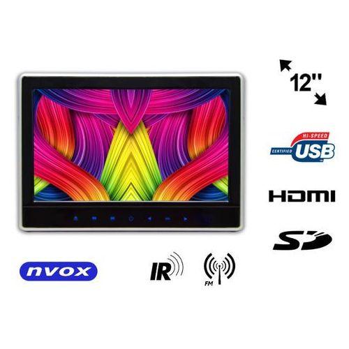 """vr1160 hd bl monitor samochodowy zagłówkowy led 12"""" hd z hdmi dvd usb sd ir fm gry marki Nvox"""