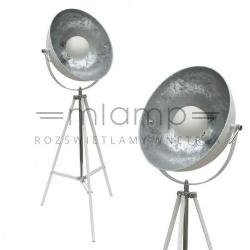 Industrialna LAMPA podłogowa ANTENNE TS-090522F-WHSI Zumaline stojąca OPRAWA studyjna na trójnogu loft tripod biała srebrna
