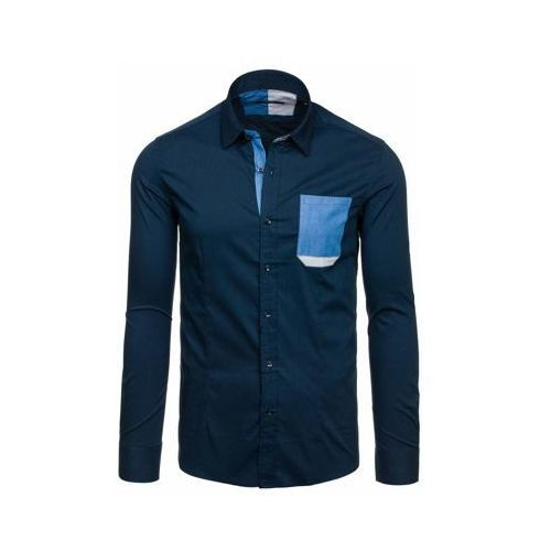 Granatowa koszula męska elegancka z długim rękawem Denley 7192