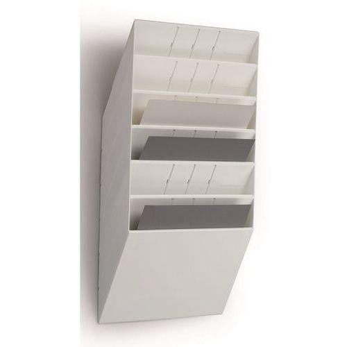Durable Uchwyt ścienny na prospekty, format poziomy, 6 x din a4, opak. 2 szt., biały. na
