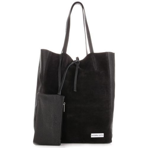 Włoskie torebki skórzane shopperbag z etui czarna (kolory) marki Vittoria gotti