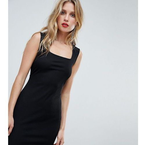 Boohoo sleeveless square neck ribbed bodycon dress - black