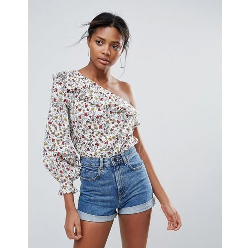 New look one shoulder ditsy floral print top - white