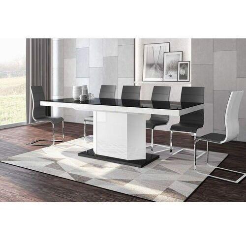 Stół rozkładany amigo 160-256 czarno-biały połysk marki Hubertus