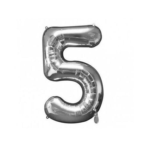 Balon foliowy cyfra piątka 5 srebrna - 53 x 86 cm - 1 szt.