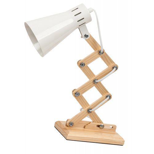 Rabalux Lampka biurkowa lampa stołowa edgar 1x25w e14 biały/drewno 4430 (5998250344300)