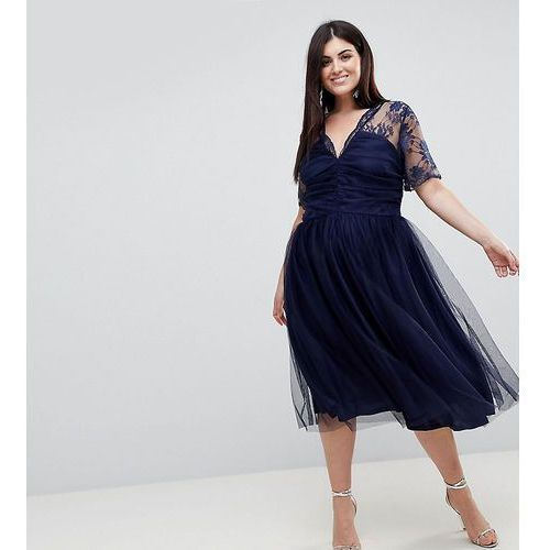 lace top midi dress with ruched bodice - navy, Asos curve