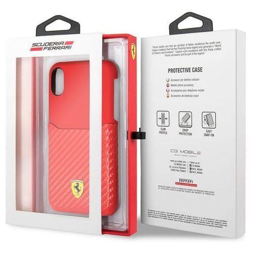 Ferrari Carbon Hard Case - Etui iPhone X z kieszenią na kartę (czerwony) (3700740408025)