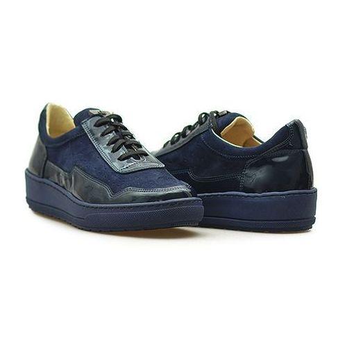 Półbuty Eksbut 27-4507-A33/H96/G70 Granatowe lakier + zamsz, kolor niebieski