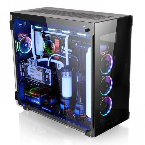 view 91 rgb riing tempered glass xl-atx super tower - black marki Thermaltake