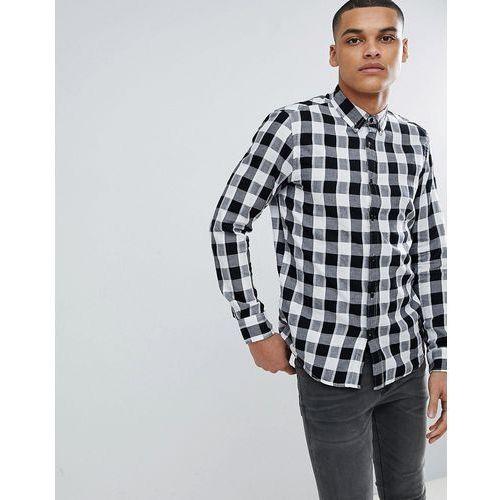 Pull&Bear Regular Fit Poplin Shirt In Black And White Check - Blue, kolor niebieski