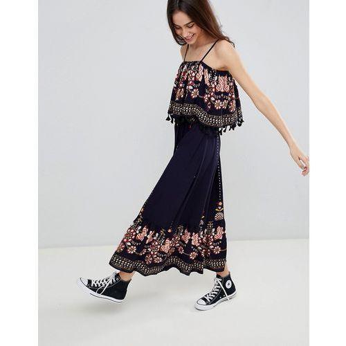 Brave soul kaylee maxi dress with tassel trim - navy