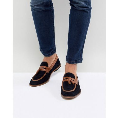 ASOS DESIGN Loafers In Navy Suede With Tan Leather Contrast Panels - Navy