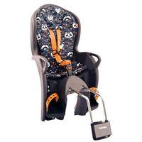 Fotelik rowerowy kiss szary, niebieska wyściółka z nadrukiem marki Hamax