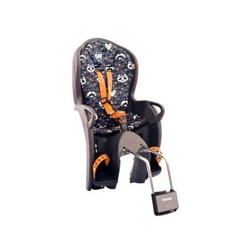 Hamax Fotelik rowerowy kiss szary, niebieska wyściółka z nadrukiem (7029775510524)