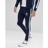 Gym King Skinny Joggers In Navy With White Stripe - Navy, kolor szary