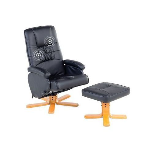Krzesło biurowe czarne z podnóżkiem skóra ekologiczna funkcja masażu relaxpro marki Beliani