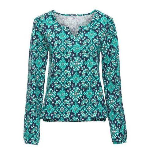 Shirt z nadrukiem, długi rękaw bonprix szmaragdowo-ciemnoniebieski, w 8 rozmiarach
