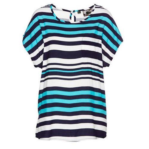 Tunika bluzkowa bonprix morsko-biało-ciemnoniebieski w paski, kolor niebieski