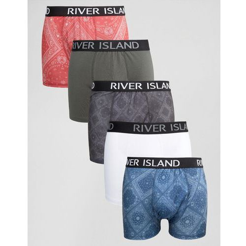 River island  pants with bandana print in navy 5 pack - navy