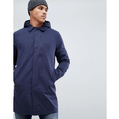 Bellfield longline overcoat with hood in navy - Navy, w 4 rozmiarach