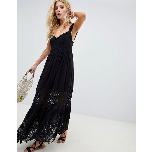 caught your eye tiered lace maxi dress - black marki Free people