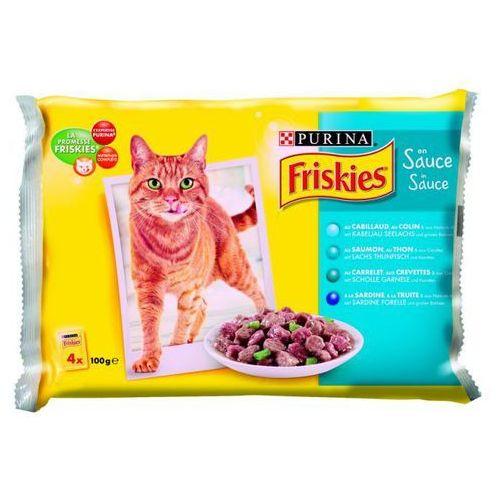Friskies w sosie Mix Rybny ZESTAW 4x100g karma dla kotów, saszetka - produkt z kategorii- Karmy i przysmaki dla kotów